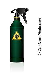 tóxico, atomizador, veneno, cráneo