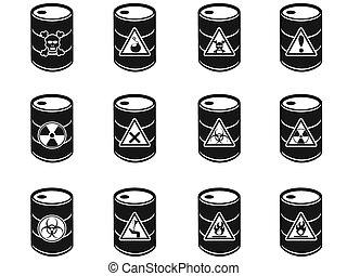 tóxico, barriles, desecho peligroso, icono