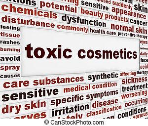 tóxico, cosméticos, advertencia, mensaje, plano de fondo