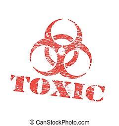 tóxico, estampilla, biohazard