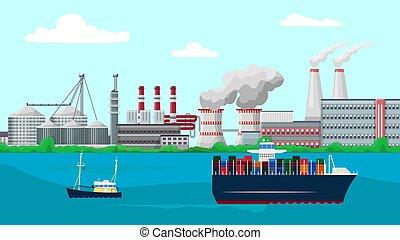 tóxico, recipiente, fábrica, navios, chaminé, passado, meio ambiente, edifícios, industrial, polua, fumos, canos, fumar, navio, vetorial, vela, illustration., emissions., planta