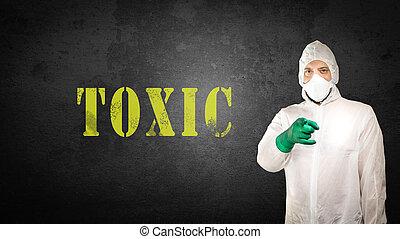 tóxico, roupa, protetor, forensics