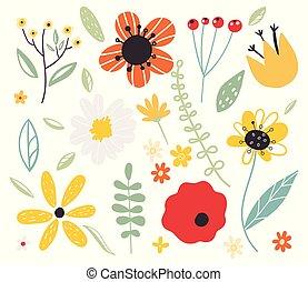 tôt, décoratif, flower., illustration., floral, ensemble, elements., vecteur, conception, dessin animé, forêt, jardin, printemps, plat