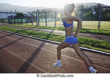 tôt, jogging, femme, matin