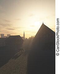 tôt, médiéval, grange, dîme, gatehouse, matin