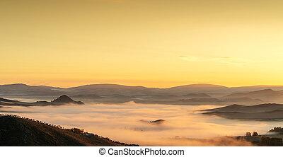 tôt, montagnes, matin