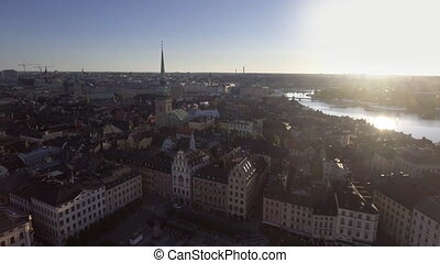 tôt, suède, matin, stockholm, vue