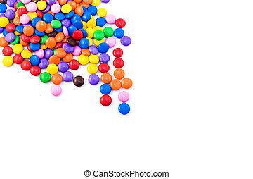 többszínű, cukorka