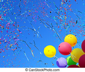 többszínű, léggömb, és, konfetti