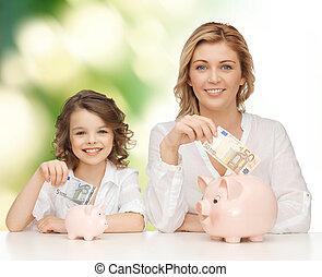 töchterchen, geld, setzen, schweinchen, mutter, banken