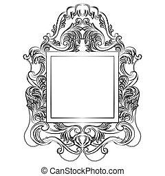 tökéletes, mesés, császári, barokk, tükör, keret