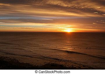tök, tengerpart, -ban, napkelte