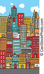 tömött, belvárosi, város, karikatúra