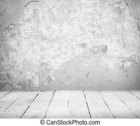 tömma rum, och, vit, golv