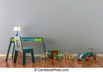 tömma rum, toys, arbete, lurar, chair., skrivbord