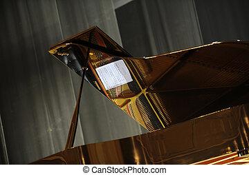 tömma scen, med, piano.