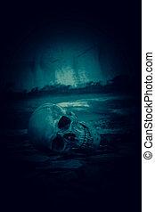 tönkretesz, állás, emberi koponya