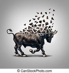 törékeny, piac, bika