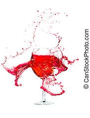 törött, egy, pohár bor
