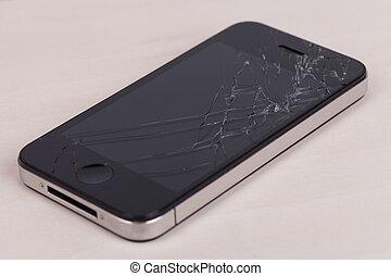 törött, ellenző, smartphone