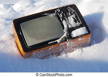 törött, televíziókészülék, öreg, hó