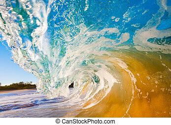 törő, óceán lenget, karambolozó, felett, fényképezőgép