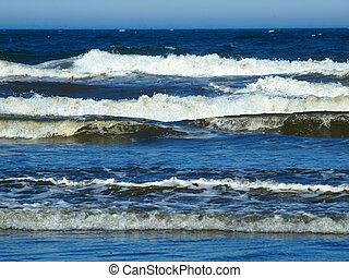 törő, napos, óceán, tengerpart, lenget, nap
