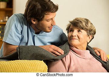 törődik, ápoló, hím, körülbelül, retiree