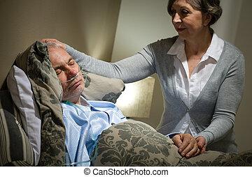 törődik, feleség, beteg, idősebb ember, fekvő, ember
