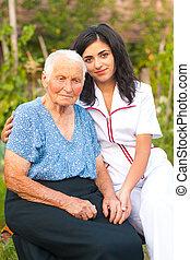 törődik, hölgy, öregedő, orvos
