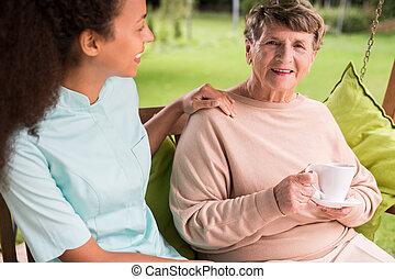 törődik, idősebb, ápoló, nő