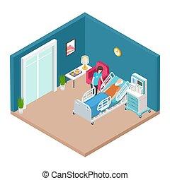 törődik, isometric, idősebb, kórház gyámolt, vector., belső,...