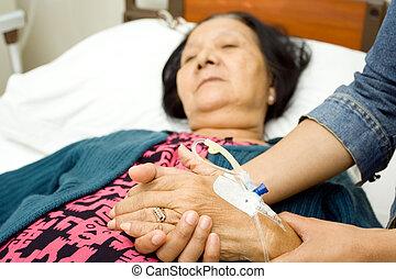 törődik, lány, beteg, öregedő, anya