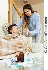 törődik, leány, férj, beteg