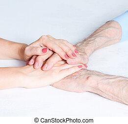 törődik, otthon, közül, öregedő