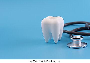 törődik, profi, fogászati szerszám, felszerelés, fogalom, egészséges
