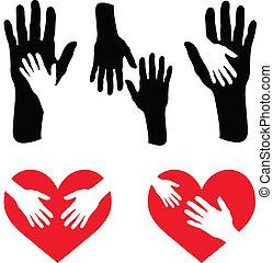 törődik, szív, állhatatos, piros, kéz