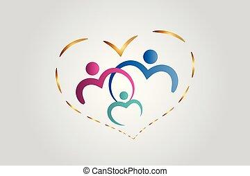 törődik, szív, vektor, család, jel