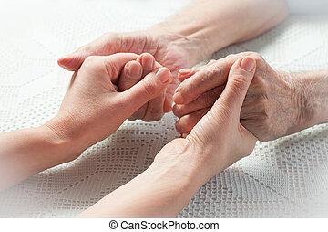 törődik, van, otthon, közül, öregedő