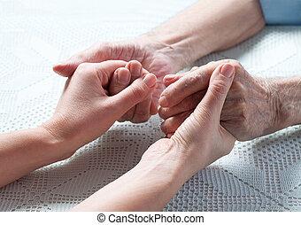 törődik, van, otthon, közül, elderly.