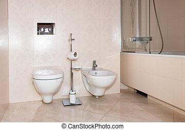 töredék, közül, egy, fényűzés, bathroom., kizárólagos, modern, fürdőszoba, noha, öltözék, bidé, és, shower.