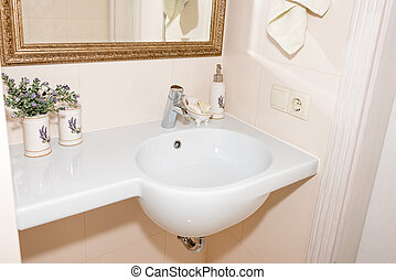 töredék, közül, egy, fényűzés, bathroom., kizárólagos, modern, fehér, fürdőszoba, noha, fehér, mosogató, és, faucet.