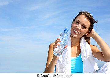 törstig, fitness, flicka, räcka buteljera, av, vatten