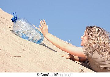 törstig, flicka, tittande, vatten