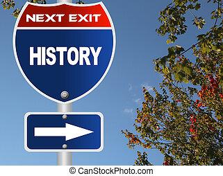 történelem, út cégtábla