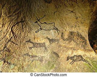 történelem előtti, emberi, felfedezés, cave., üldöz, homokkő, festék, vadászat, barlanglakó ősember