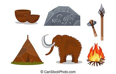 történelem előtti, fehér, emberek, vektor, eszközök, ábra, ...