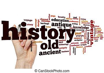 történelem, szó, felhő