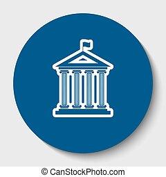történelmi épület, noha, flag., vector., fehér, körvonal, ikon, alatt, sötét, kék, karika, -ban, fehér, háttér., isolated.