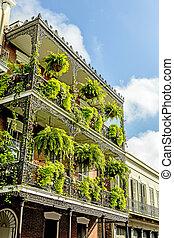 történelmi, öreg, épületek, noha, vas, erkélyek, alatt,...